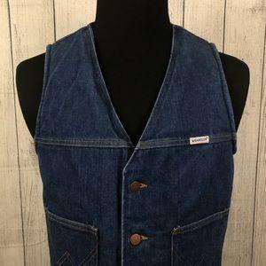 VTG 70's Wrangler L Blue Sherpa Lined Denim Vest